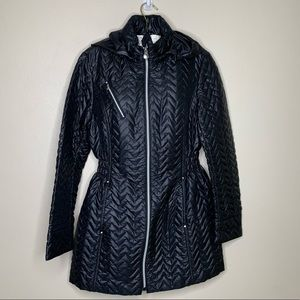 Laundry by Shelli Segal Black Puffer Coat Sz Large